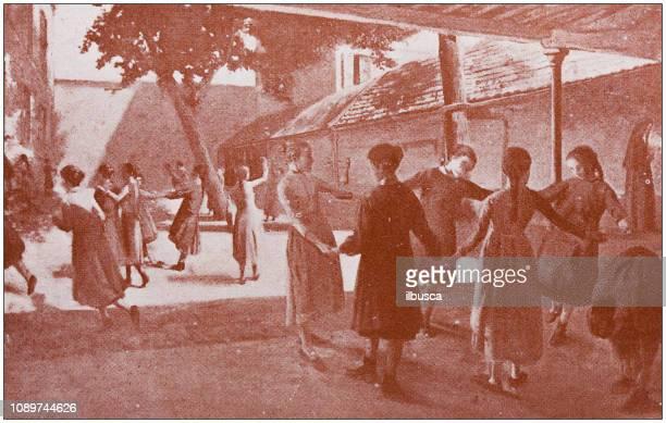 antique art painting illustration: playtime - 1900 1909 stock illustrations