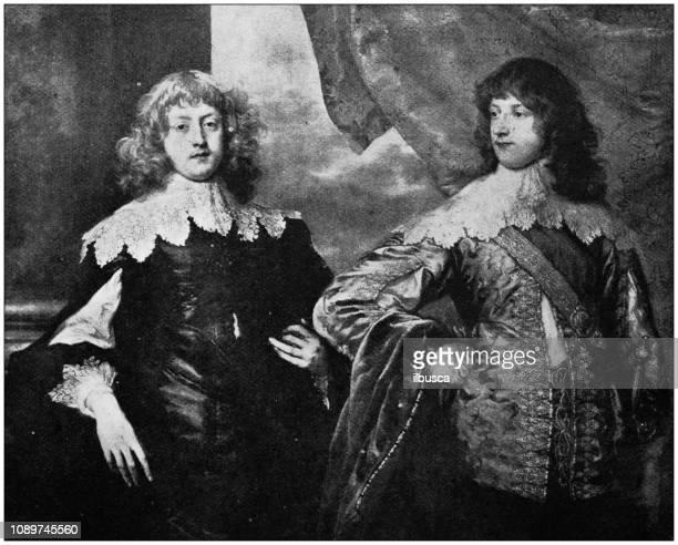 Antique art painting illustration: Sir Anthony Van Dyck - Comte de Bristol and Duc de Bedford