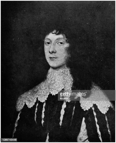 ilustraciones, imágenes clip art, dibujos animados e iconos de stock de antigua ilustración de pintura arte: sir anthony van dyck - retrato de lucien carey, lord falkland - islas malvinas