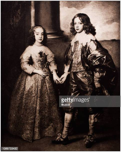antique art painting illustration: van dyck - guillaume ii and fiancée - fiancé stock illustrations