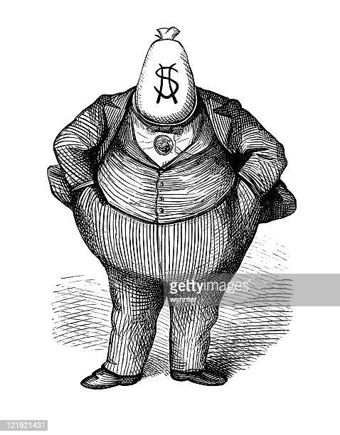 "illustrazioni stock, clip art, cartoni animati e icone di tendenza di antico caricatura di'fat gatto ""politico circa 1870 - incisione tecnica illustrativa"