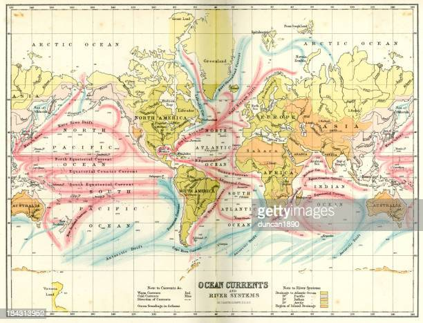 antique chart of the world - tide stock illustrations, clip art, cartoons, & icons