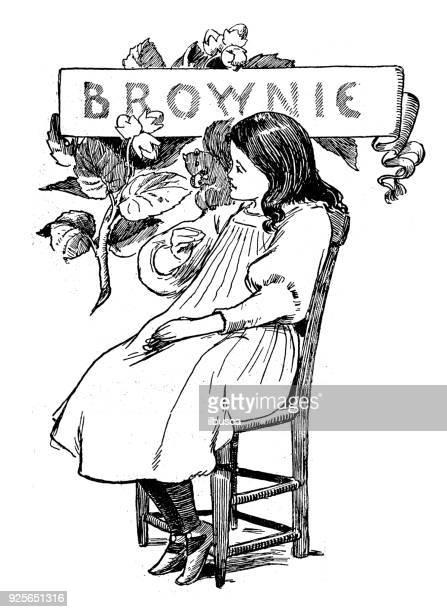 antique children book illustrations: brownie - brownie stock illustrations, clip art, cartoons, & icons