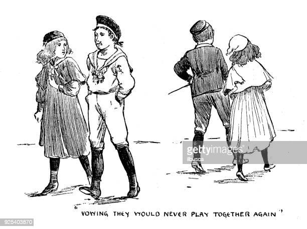 antique children book illustrations: children fight - family fighting cartoon stock illustrations