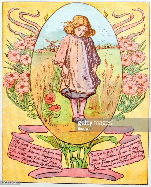 antique children book illustrations: girl and bee - poetry literature stock illustrations