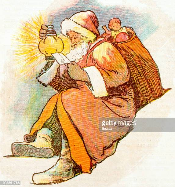 antique children book illustrations: santa claus - christmas past and christmas present stock illustrations