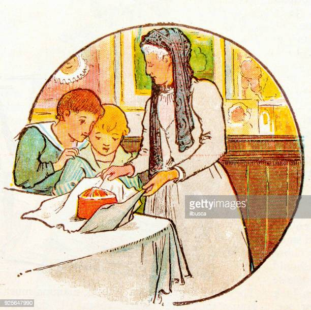 Antique children book illustrations: woman and boys