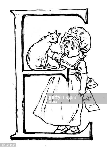 ilustraciones, imágenes clip art, dibujos animados e iconos de stock de antiguos niños ilustraciones del libro de ortografía: la letra e del alfabeto - letrae