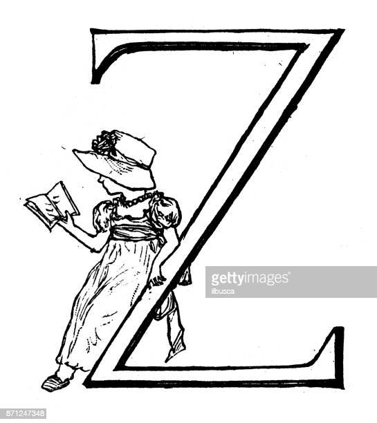 Antique children spelling book illustrations: Alphabet letter Z