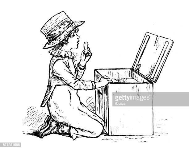 アンティークの本のイラストをスペルの子供: ビスケットを食べる
