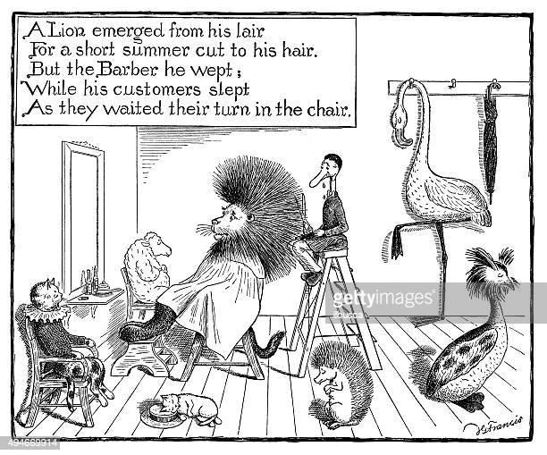 illustrations, cliparts, dessins animés et icônes de livre antique bande dessinée illustration des enfants: animaux salon de coiffure - coiffeur humour