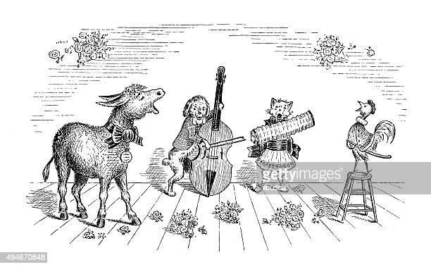 Livre Antique bande dessinée illustration des enfants: Orchestre les animaux