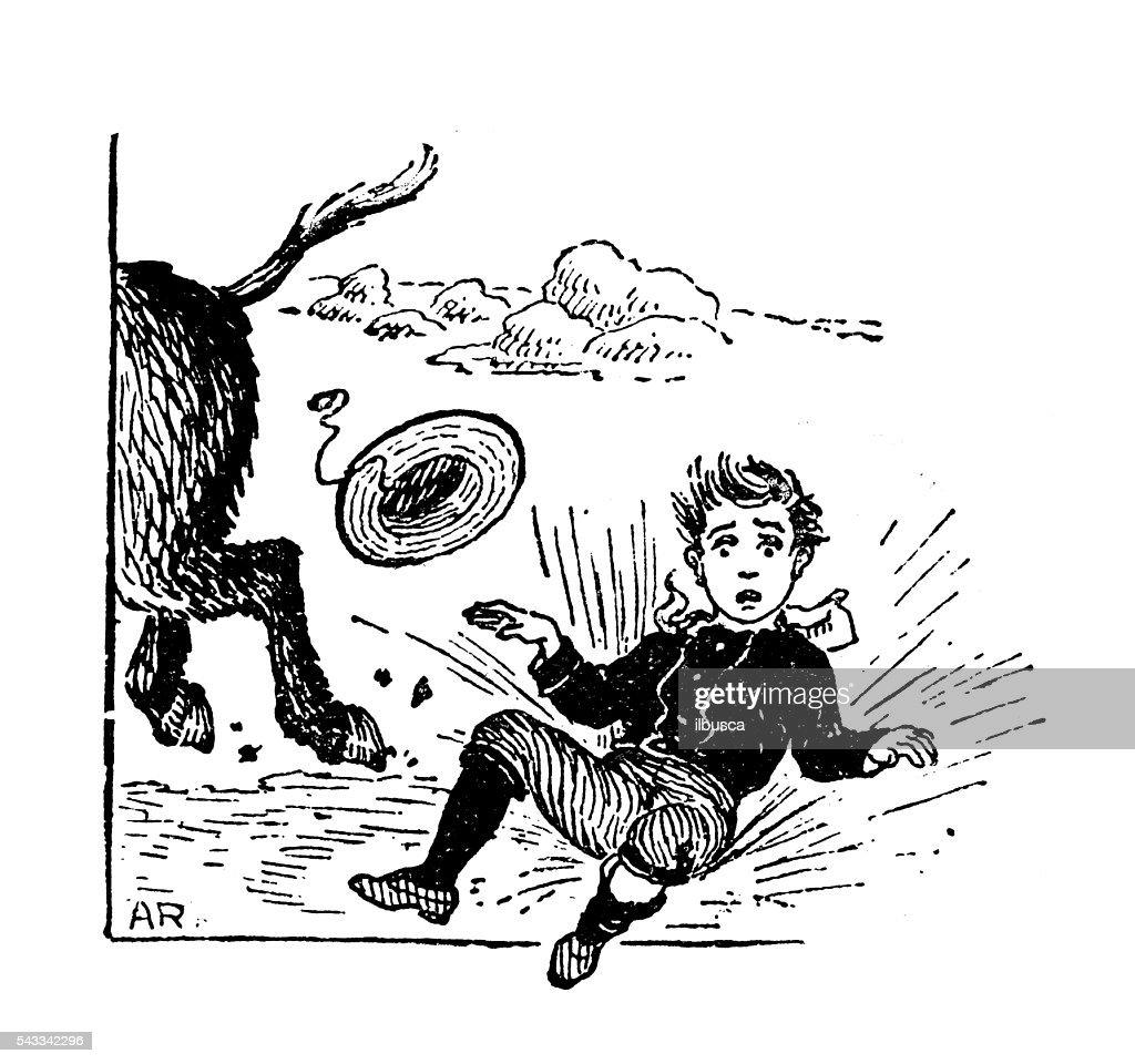 Antique children's book comic illustration: boy falling from riding donkey : Stock Illustration