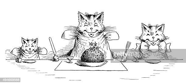 illustrations, cliparts, dessins animés et icônes de livre antique bande dessinée illustration des enfants: chats de manger - chat humour