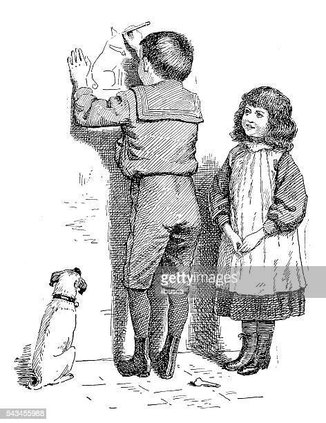 Enfants Livre Antique illustration comique : Enfants dessin sur le mur