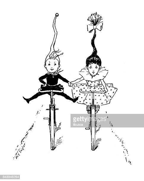 Antique children's book comic illustration: friends cycling