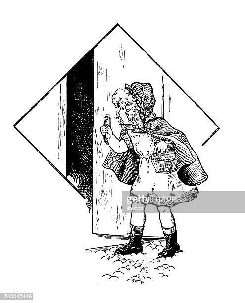 antique children's book comic illustration: little girl opening door - little red riding hood stock illustrations, clip art, cartoons, & icons