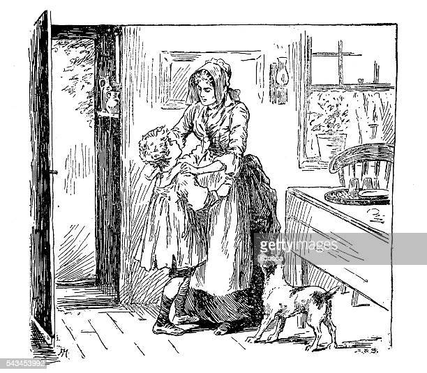 antique children's book comic illustration: mother and son indoor - family fighting cartoon stock illustrations