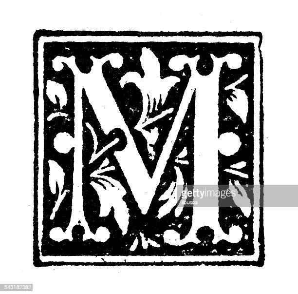 antique children's book comic illustration: ornate letter m - letter m stock illustrations, clip art, cartoons, & icons