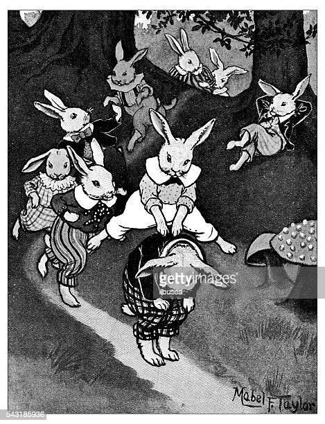 ilustraciones, imágenes clip art, dibujos animados e iconos de stock de antiguo libro de niños ilustración de historietas: conejos jugando - grupo grande de animales