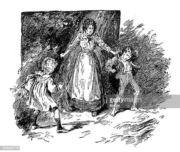 antique children's book comic illustration: woman with children - family fighting cartoon stock illustrations