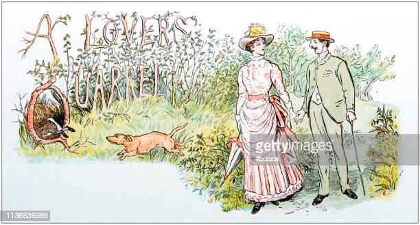 Antique color illustration by Randolph Caldecott: Couple in nature