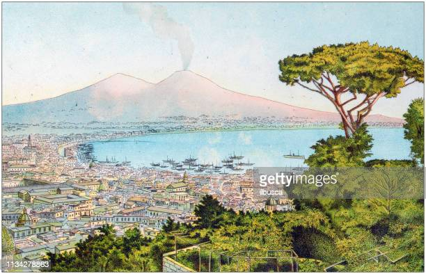 antique color illustration from german children fable book: naples - naples italy stock illustrations