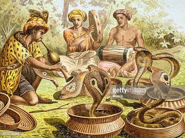 ilustraciones, imágenes clip art, dibujos animados e iconos de stock de color antiguo ilustración de india (naja cobra naja) - cobra