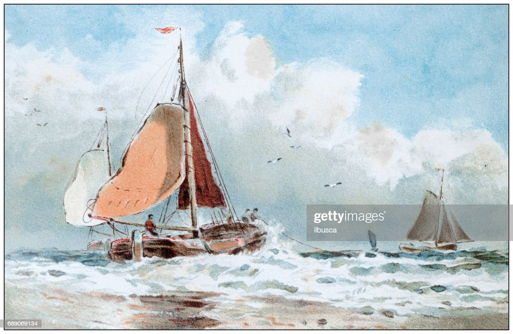 Antique colored illustrations: Boat painting : Stock Illustration