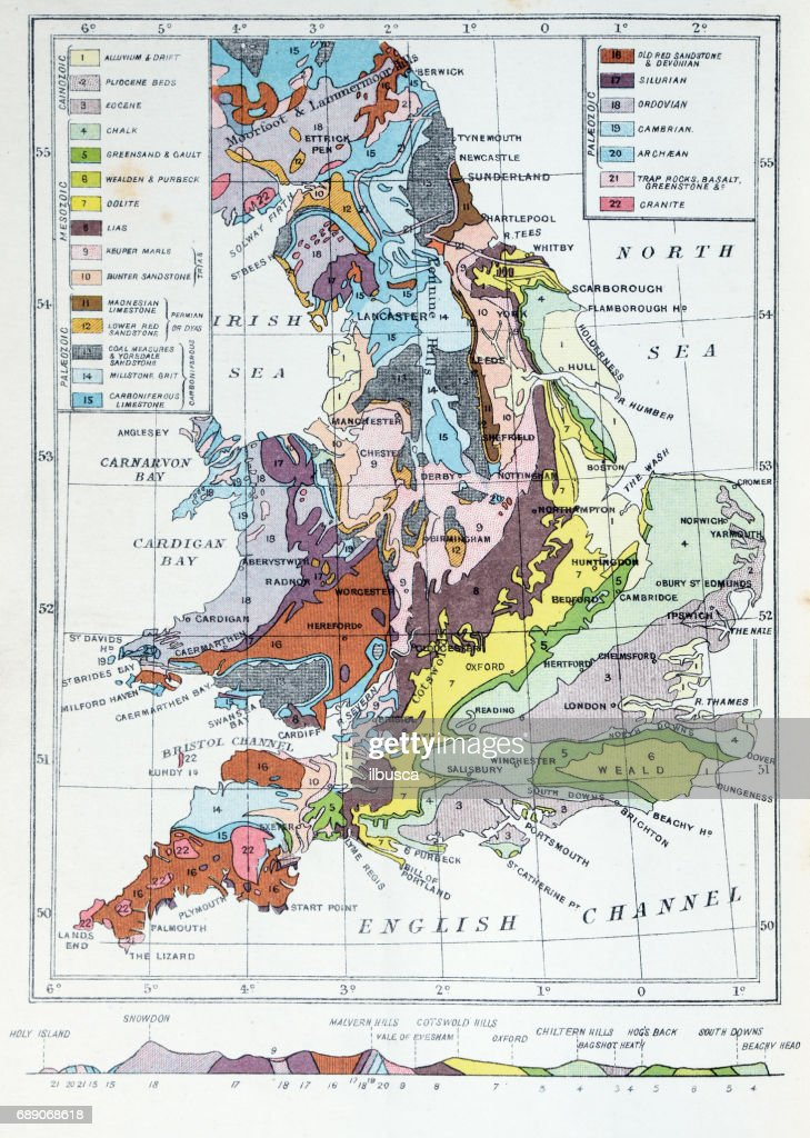 Antique colored illustrations: Geological map of England and Wales : stock illustration