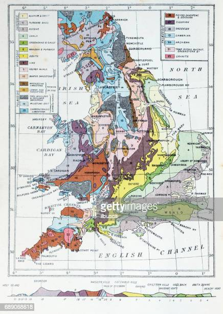 Antique colored illustrations: Geological map of England and Wales