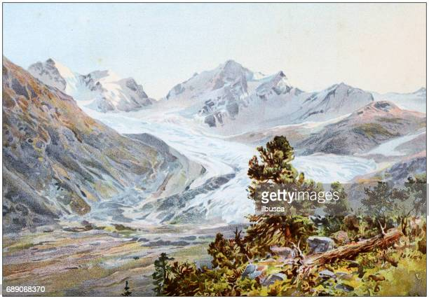 Antique colored illustrations: Rosegg glacier