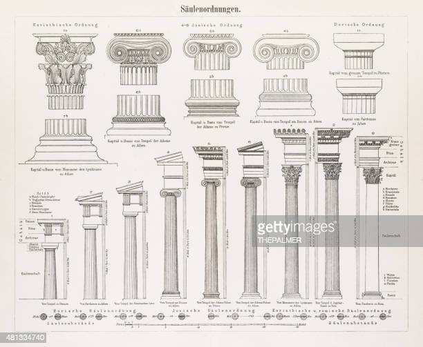 antique columns engraving 1896 - architectural feature stock illustrations, clip art, cartoons, & icons