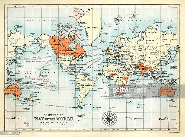 antique commercial map of the world - british empire stock illustrations