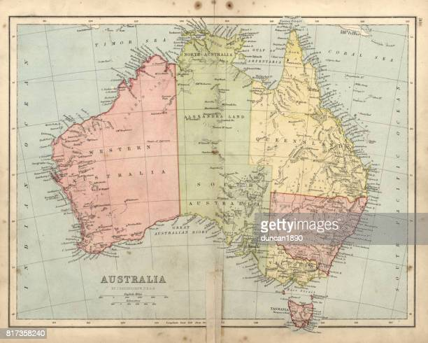 Antique damaged map of Australia in the 19th Century, 1873