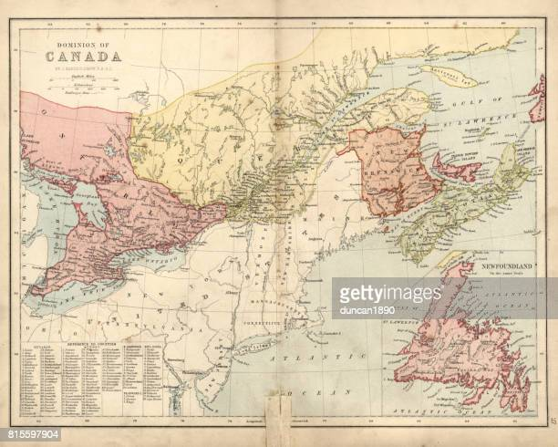 antique damaged map of dominion of canada 19th century - lake ontario stock illustrations, clip art, cartoons, & icons