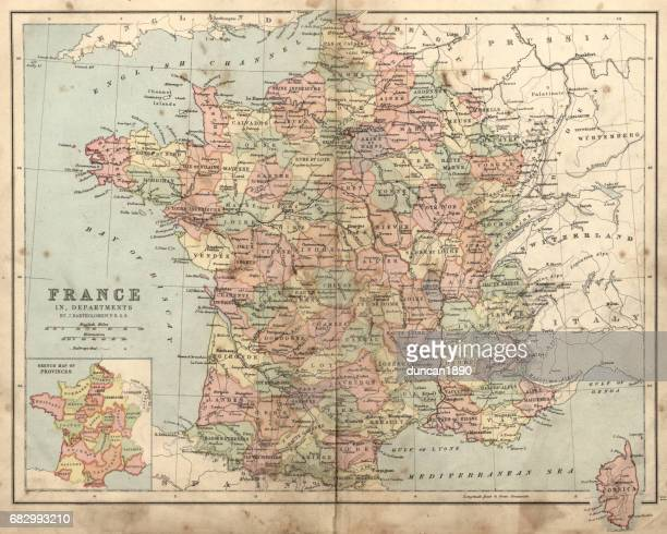 Antique damaged map of France in the 19th Century