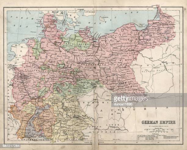 antique damaged map of german empire 19th century - germany stock illustrations, clip art, cartoons, & icons
