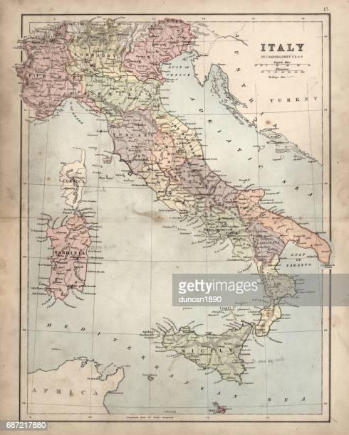 ilustrações, clipart, desenhos animados e ícones de antique damaged map of italy 19th century - itália