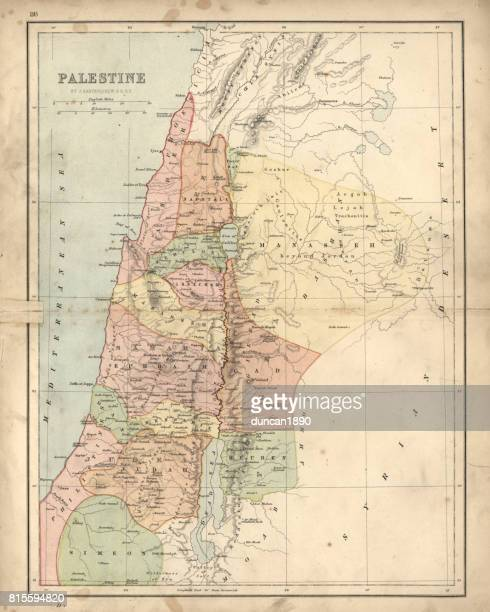 antique damaged map of palestine 19th century - israel stock illustrations