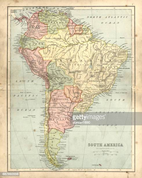 ilustrações, clipart, desenhos animados e ícones de antique damaged map of south america in the 19th century - antigo