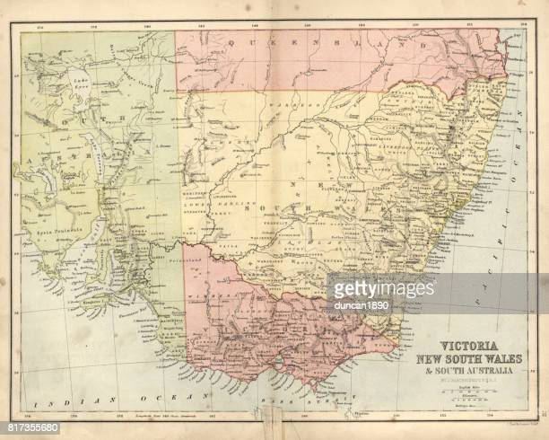Antique damaged map of Victoria, New South Wales, 19th Century