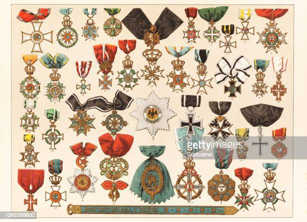 antique different military and religious order and award 1885 - classical style stock illustrations, clip art, cartoons, & icons