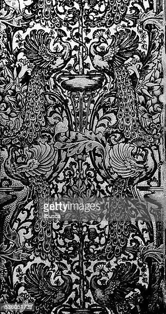 antique dot print decoration - arabic script stock illustrations, clip art, cartoons, & icons