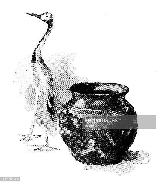 アンティーク dotprinted 水彩のイラストレーション日本:バードザ花瓶
