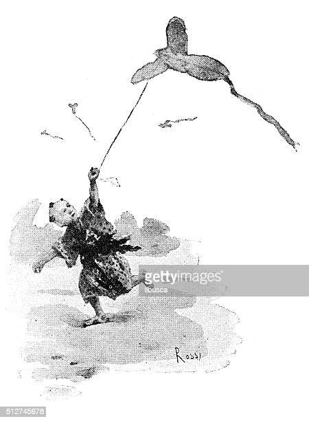antique dotprinted watercolor illustration of japan: boy with kite - only japanese stock illustrations, clip art, cartoons, & icons