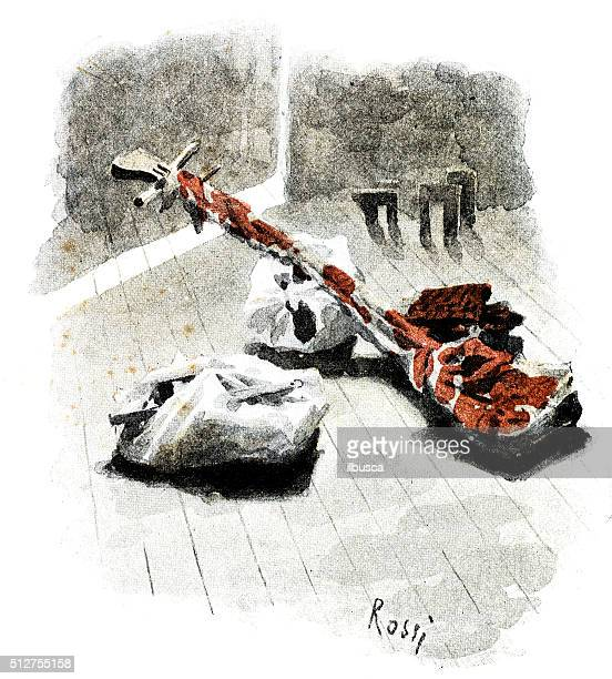 ilustrações de stock, clip art, desenhos animados e ícones de antigo dotprinted aguarela ilustração de japão :  embalado coisas - vangen