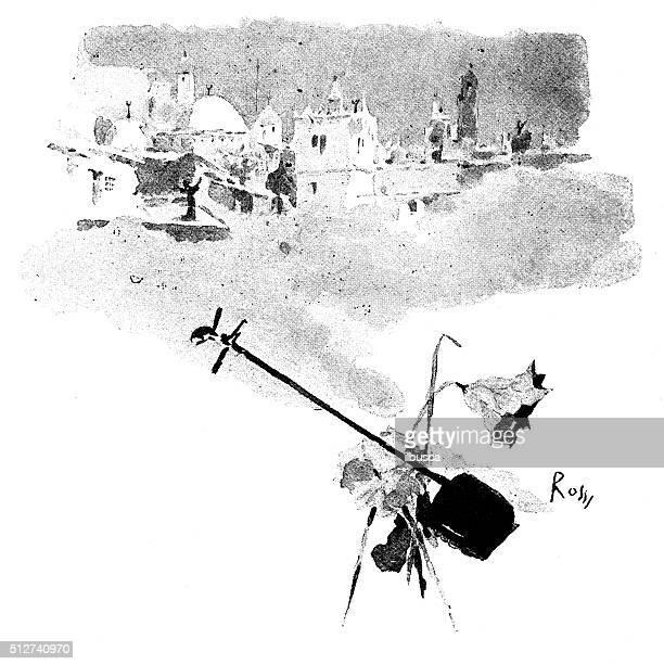 ilustrações de stock, clip art, desenhos animados e ícones de antigo dotprinted aguarela ilustração de japão :  instrumento musical japonês com três cordas shamisen com paisagens urbanas - vangen