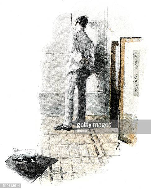 antique dotprinted watercolor illustration of japan: thoughtful man indoor - only japanese stock illustrations, clip art, cartoons, & icons