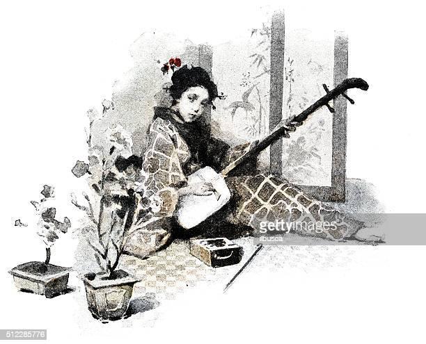 ilustrações de stock, clip art, desenhos animados e ícones de antigo dotprinted aguarela ilustração de japão : mulher com guitarra instrumento musical japonês com três cordas shamisen - vangen
